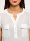 Блузка вискозная с нагрудными карманами oodji #SECTION_NAME# (белый), 21412132-6B/48756/1200N - вид 4
