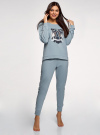 Пижама хлопковая с брюками oodji #SECTION_NAME# (синий), 56002224/46154/7079P - вид 6