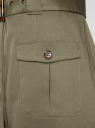 Платье с коротким рукавом в стиле сафари oodji для женщины (зеленый), 21911013/19698/6600N