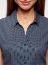 Блузка принтованная из легкой ткани oodji #SECTION_NAME# (синий), 21407022-9/12836/7910D - вид 4