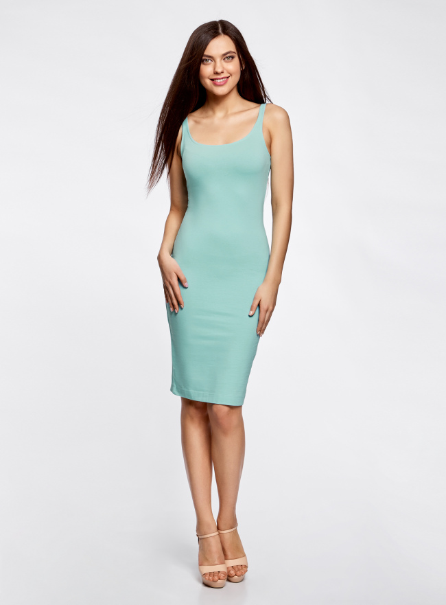 Платье-майка трикотажное oodji для женщины (бирюзовый), 14015007-2B/47420/7300N
