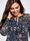Блузка принтованная с кисточками и резинками oodji #SECTION_NAME# (синий), 21411107/17358/7933F - вид 4