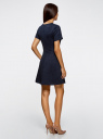 Платье жаккардовое с коротким рукавом oodji для женщины (синий), 11902161/45826/7900N