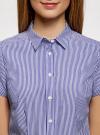 Рубашка хлопковая с коротким рукавом oodji #SECTION_NAME# (синий), 13K01004B/33081/1075S - вид 4