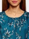 Блузка свободного кроя с вырезом-капелькой oodji #SECTION_NAME# (зеленый), 21400321-2/33116/6C23O - вид 4