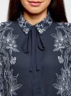 Блузка свободного силуэта с завязками oodji #SECTION_NAME# (синий), 21411094-1/36215/7912F - вид 4