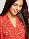 Блузка вискозная с рукавом-трансформером 3/4 oodji #SECTION_NAME# (красный), 11403189-2B/26346/4510O - вид 4