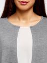 Жакет вязаный с контрастными отворотами без застежки oodji #SECTION_NAME# (серый), 63212588/47063/2512B - вид 4