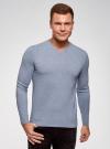 Пуловер базовый с V-образным вырезом oodji для мужчины (синий), 4B212007M-1/34390N/7001M - вид 2