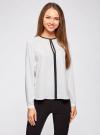 Блузка из струящейся ткани с контрастной отделкой oodji #SECTION_NAME# (белый), 11411059B/43414/1200N - вид 2