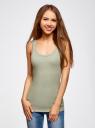 Майка базовая oodji для женщины (зеленый), 14315001B/46174/6000N
