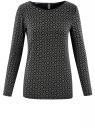 Блузка прямого силуэта с вырезом-капелькой на спине oodji #SECTION_NAME# (черный), 24201026/17482/2930G
