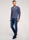 Джемпер вязаный с V-образным вырезом oodji для мужчины (синий), 4L212174M/47167N/7575O - вид 6