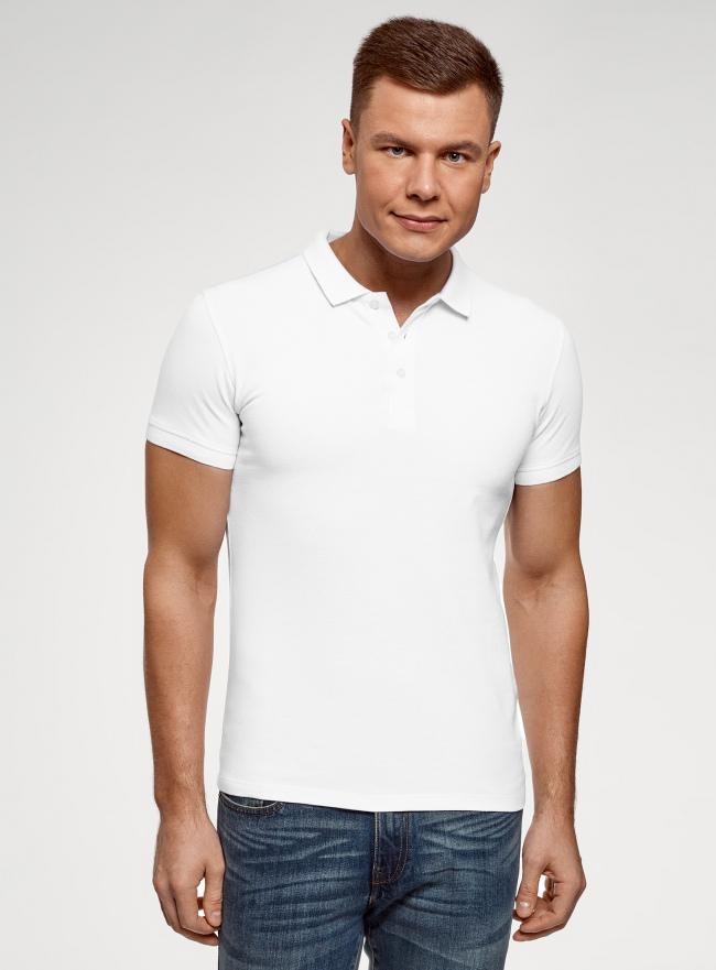 Поло из ткани пике oodji для мужчины (белый), 5B422001M/44032N/1000N