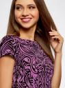 Платье трикотажное с принтом из флока oodji для женщины (фиолетовый), 14001117-9/33038/4C29O