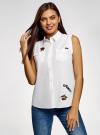 Рубашка без рукавов с нашивками oodji #SECTION_NAME# (белый), 14901419-1/13175N/1045P - вид 2