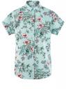 Рубашка прямого силуэта с коротким рукавом oodji #SECTION_NAME# (зеленый), 13L11021/49224/6545F