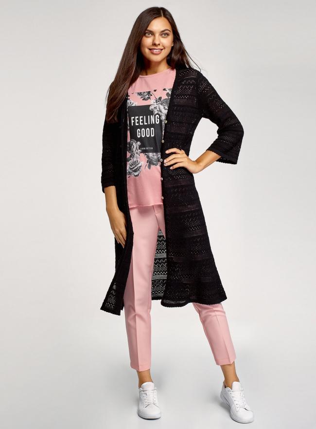 Кардиган ажурной вязки на пуговицах oodji для женщины (черный), 63212573/35472/2900N