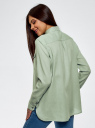 Рубашка хлопковая с нагрудными карманами oodji #SECTION_NAME# (зеленый), 13L11009/45608/7000N - вид 3