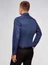 Рубашка приталенная с этническим принтом oodji #SECTION_NAME# (синий), 3L110343M/19370N/7574E - вид 3