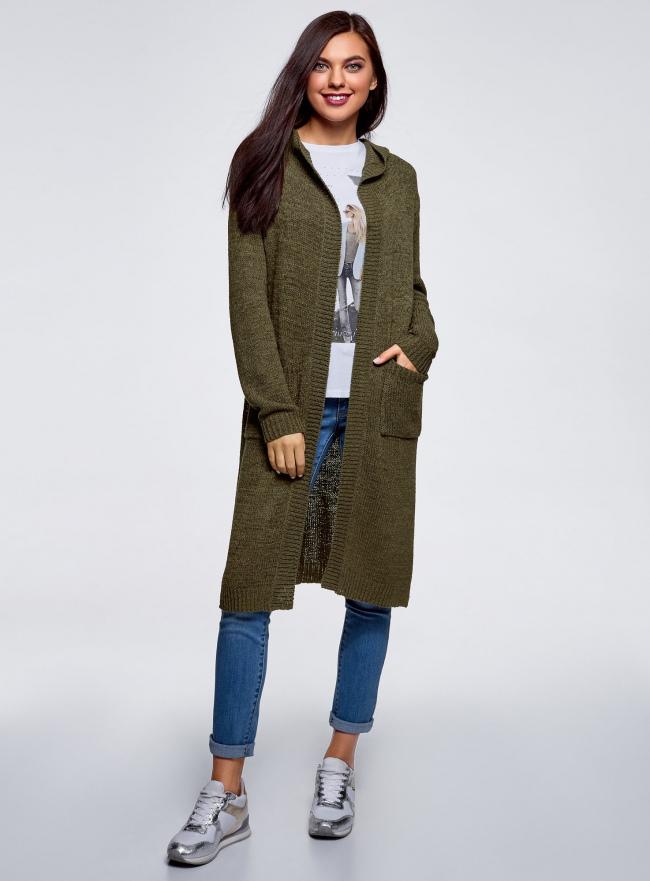 Кардиган с капюшоном и накладными карманами oodji #SECTION_NAME# (зеленый), 63205252/48953/6800N