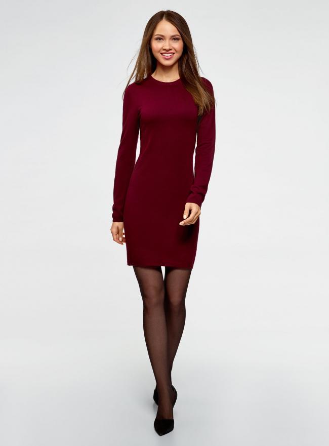 Платье вязаное базовое oodji для женщины (красный), 73912217-3B/45647/4903N