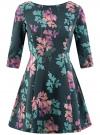 Платье трикотажное принтованное oodji #SECTION_NAME# (зеленый), 14001150-3/33038/7683F