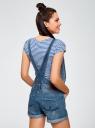Комбинезон джинсовый с декоративными дырками oodji #SECTION_NAME# (синий), 13109063/45254/7500W - вид 3