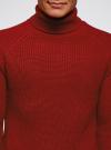 Свитер в рубчик с высоким воротом oodji #SECTION_NAME# (красный), 4L307010M/47211N/4500M - вид 4