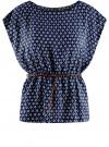 Блузка принтованная из вискозы oodji #SECTION_NAME# (синий), 11400345-2/24681/7912G