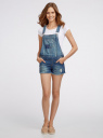Комбинезон джинсовый с модными потертостями oodji #SECTION_NAME# (синий), 13109056-1/42559/7900W - вид 2