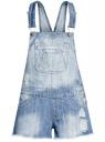 Комбинезон джинсовый с модными потертостями oodji #SECTION_NAME# (синий), 13109058/42559/7000W