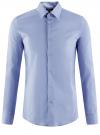 Рубашка базовая приталенная oodji для мужчины (синий), 3B140000M/34146N/7000N - вид 6
