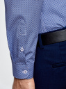 Рубашка хлопковая в мелкую графику oodji #SECTION_NAME# (синий), 3L110314M/19370N/1075G - вид 5