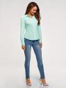 Рубашка базовая с V-образным вырезом oodji для женщины (зеленый), 13K02001B/42083/6500N