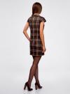 Платье клетчатое с карманами и воротником-хомутом oodji для женщины (коричневый), 11910058-2/37812/3733C - вид 3