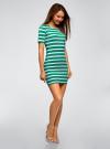 Платье прилегающего силуэта в рубчик oodji #SECTION_NAME# (зеленый), 14011012/45210/6910S - вид 6