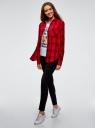 Рубашка клетчатая из вискозы oodji для женщины (красный), 13L11007/47701/4529C