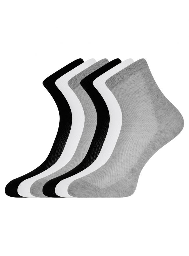 Комплект из шести пар хлопковых носков oodji для женщины (разноцветный), 57102809T6/48022/2