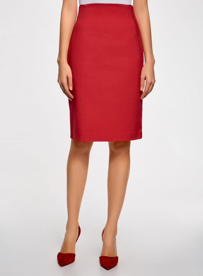 Юбка прямая с завышенной талией oodji для женщины (красный), 21601295/33574/4500N