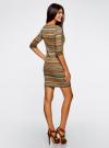 Платье жаккардовое с геометрическим узором oodji для женщины (зеленый), 14001064-5/46025/6859G - вид 3
