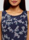 Платье из струящейся ткани с бантом на спине oodji #SECTION_NAME# (синий), 11900181-2B/35271/7940F - вид 4
