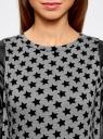 Платье с флоком и отделкой из искусственной кожи oodji для женщины (серый), 14001143-3/42376/2329O