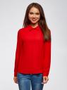 Блузка базовая из струящейся ткани oodji #SECTION_NAME# (красный), 11400368-8B/48854/4500N - вид 2