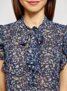 Блузка шифоновая с бантом oodji #SECTION_NAME# (синий), 11411189/17358/7919F - вид 4
