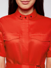 Платье-рубашка с карманами oodji #SECTION_NAME# (красный), 11909002/33113/4500N - вид 4