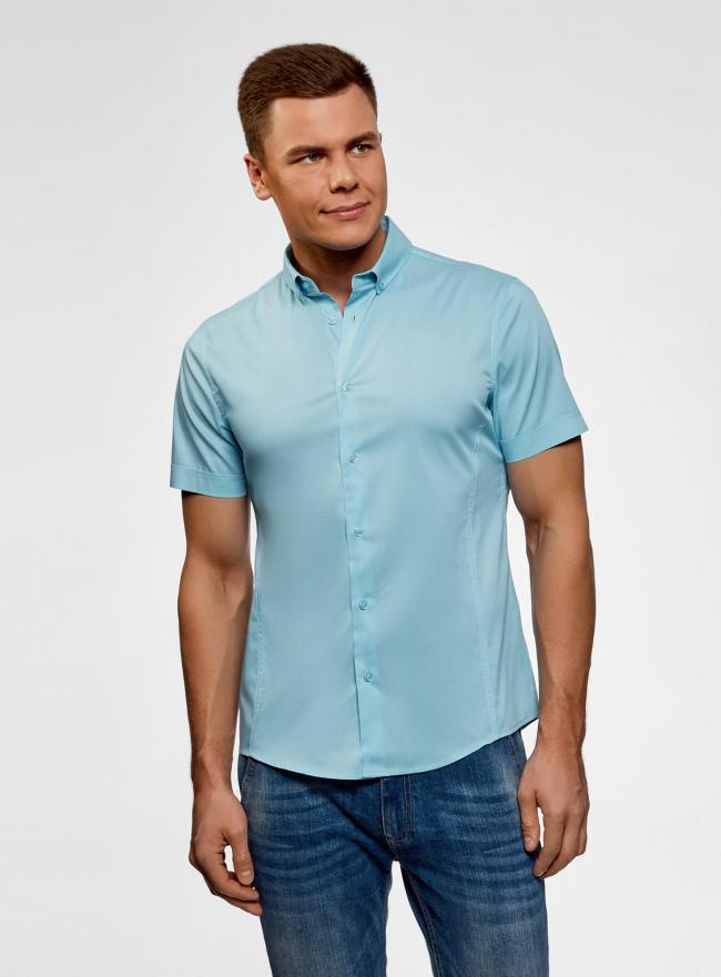 Рубашка базовая с коротким рукавом oodji #SECTION_NAME# (бирюзовый), 3B240000M/34146N/7300N