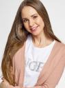 Жакет вязаный с накладными карманами oodji для женщины (розовый), 17900046B/15640/4B12M