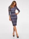 Платье облегающее с вырезом-лодочкой oodji #SECTION_NAME# (синий), 14017001-2B/37809/796CE - вид 2