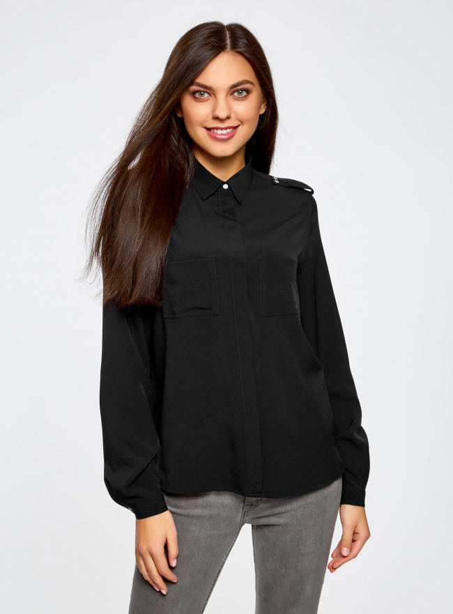 Блузка с погонами и нагрудными карманами oodji #SECTION_NAME# (черный), 21411064/42144/2900N